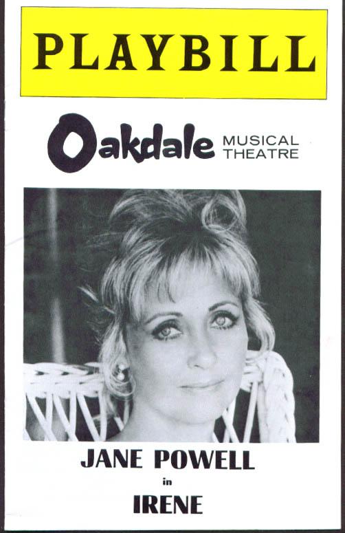 Jane Powell in Irene Playbill Oakdale Musical Theatre program 1975