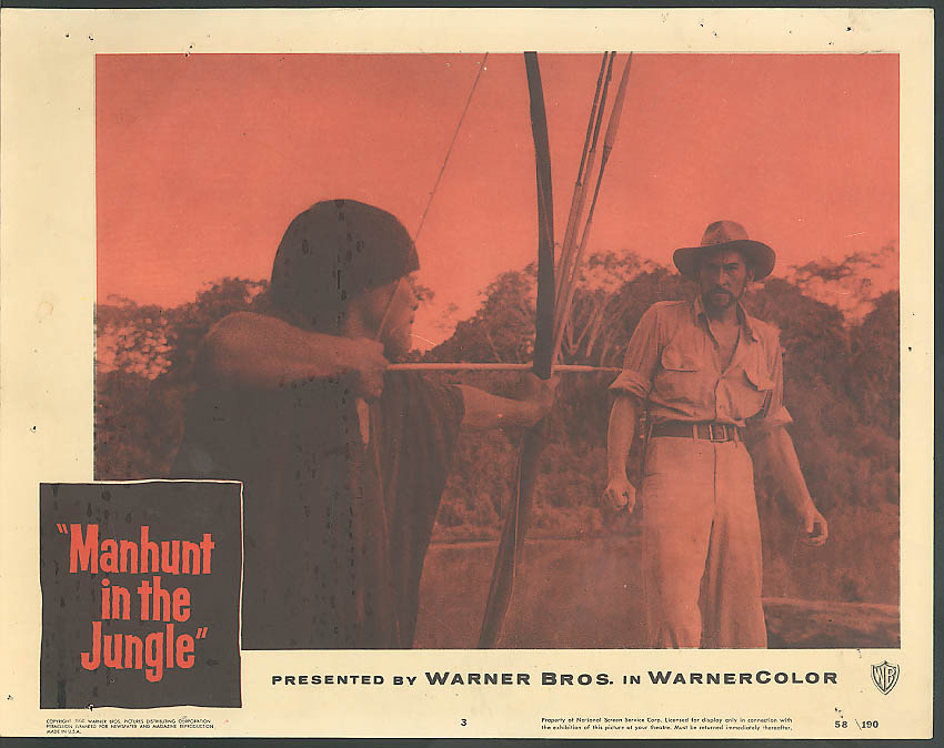 Image for Man at arrowpoint Manhunt in the Jungle lobby card 1958