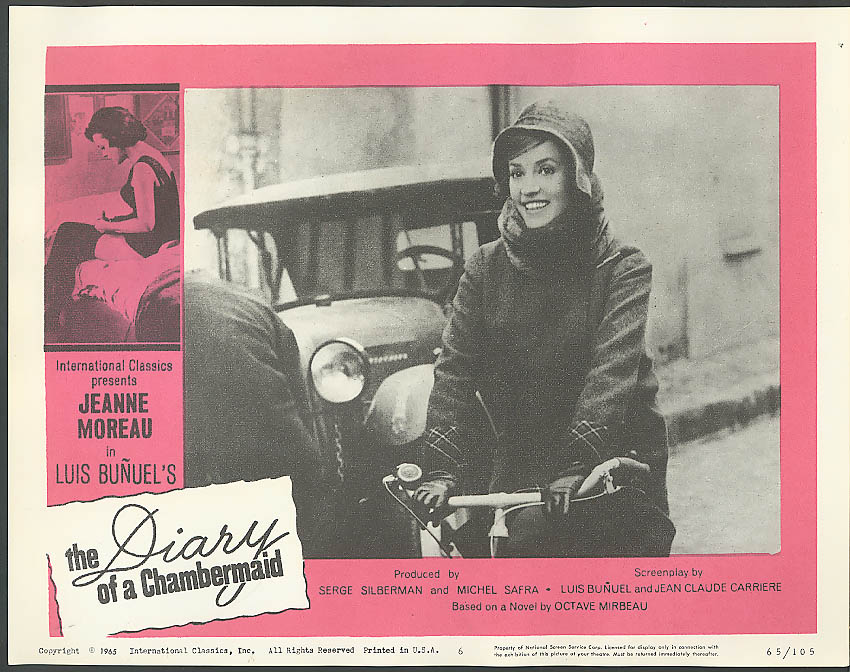 Image for Moreau on bike A Diary of a Chambermaid lobby card 1965