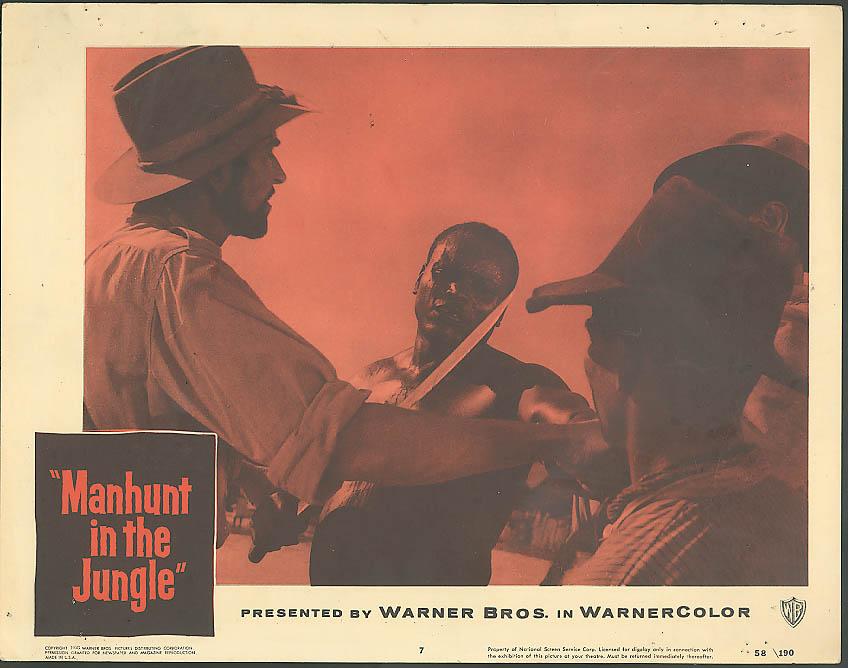 Native & machete Manhunt in the Jungle lobby card 1958