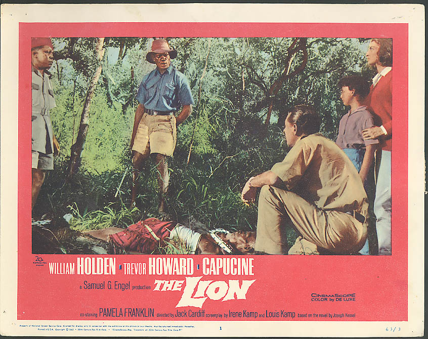 Image for William Holden & native guides The Lion lobby card 1963
