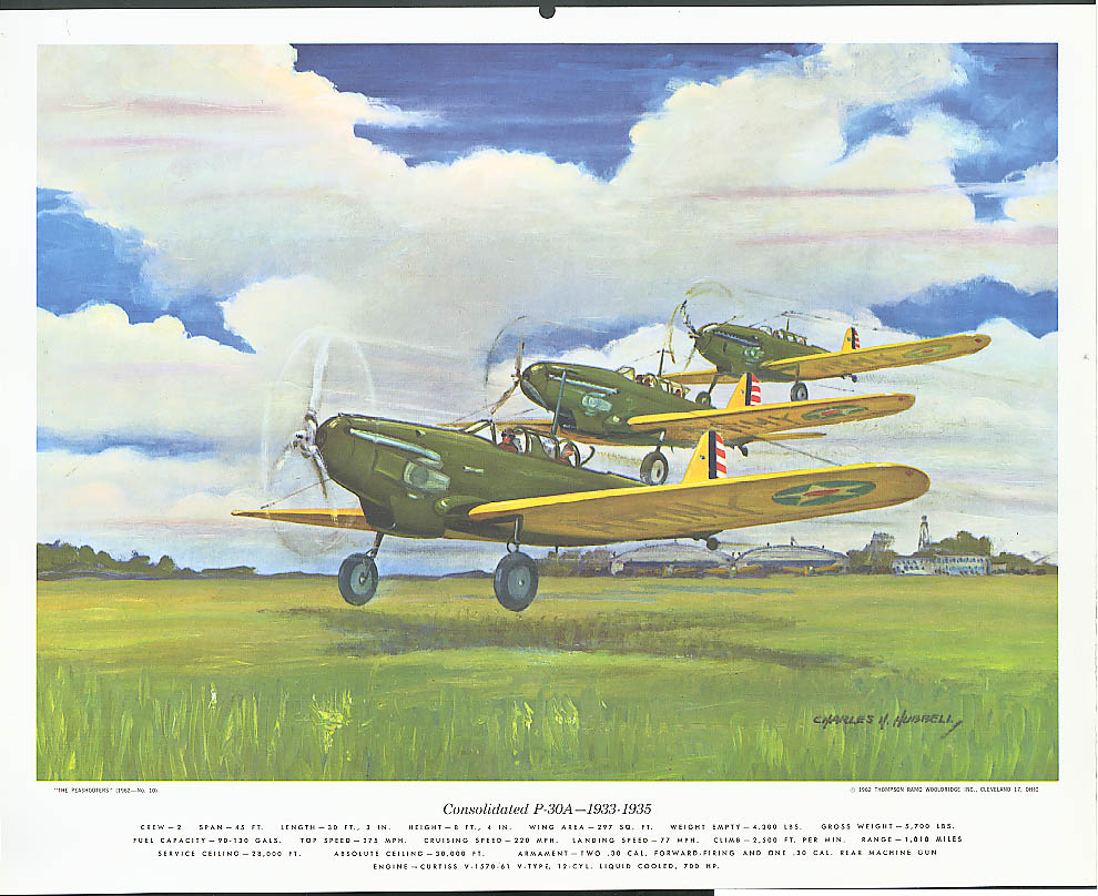 Consolidated P-30A 1933-1935 Hubbell print 1962