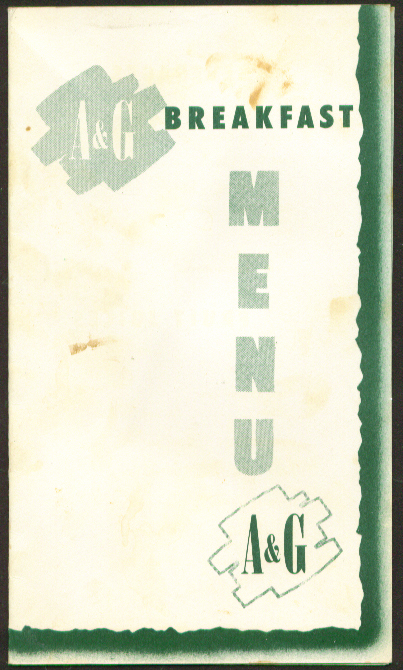 A & G Breakfast Menu location unknown, about 1950s