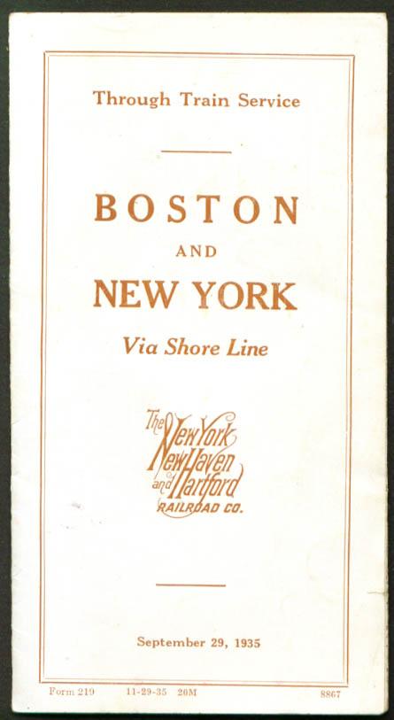 Image for NY NH & Hartford RR Boston-NY Shore Line Timetable 1935