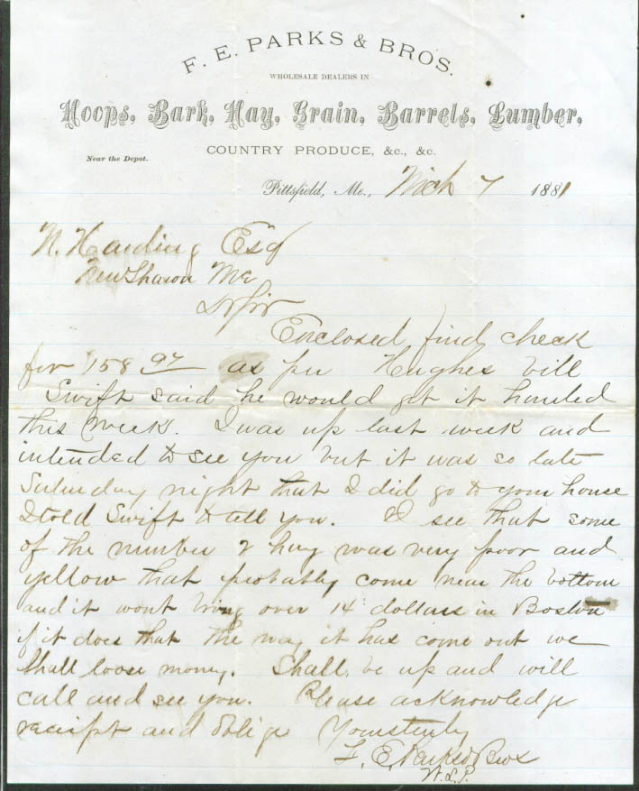 F E Parks Pittsfield ME Hoops Bark Hay ++ letter 1881