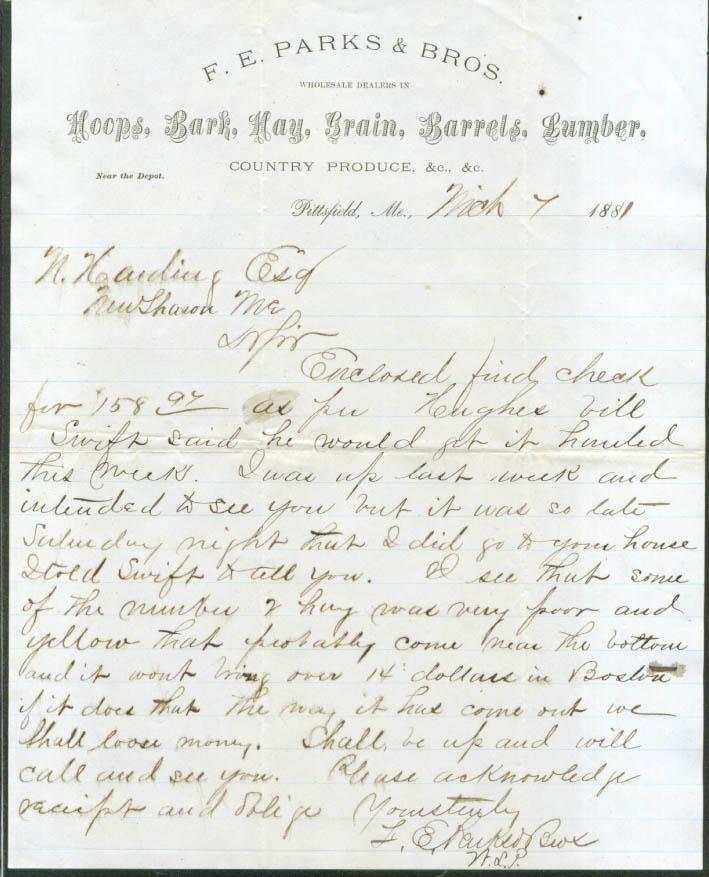 F E Parks & Bros Pittsfield ME Hoops Bark Hay Grain Barrels Lumber + letter 1881