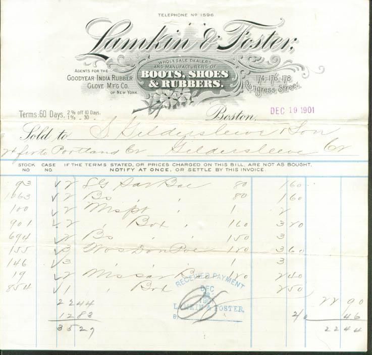 Lamkin & Foster Boots Shoes Rubbers Boston bill 1901