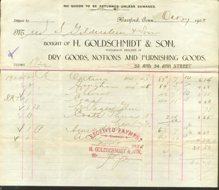 H Goldschmidt & Son Dry Goods Hartford CT billhead 1900