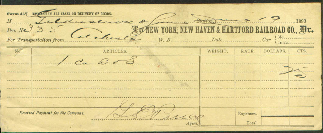 Image for New York New Haven & Hartford RR consign form 1890
