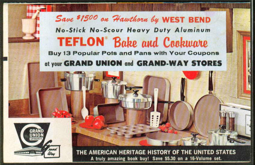West Bend Teflon Bake & Cookware Coupon booklet Grand Union Supermarkets 1966