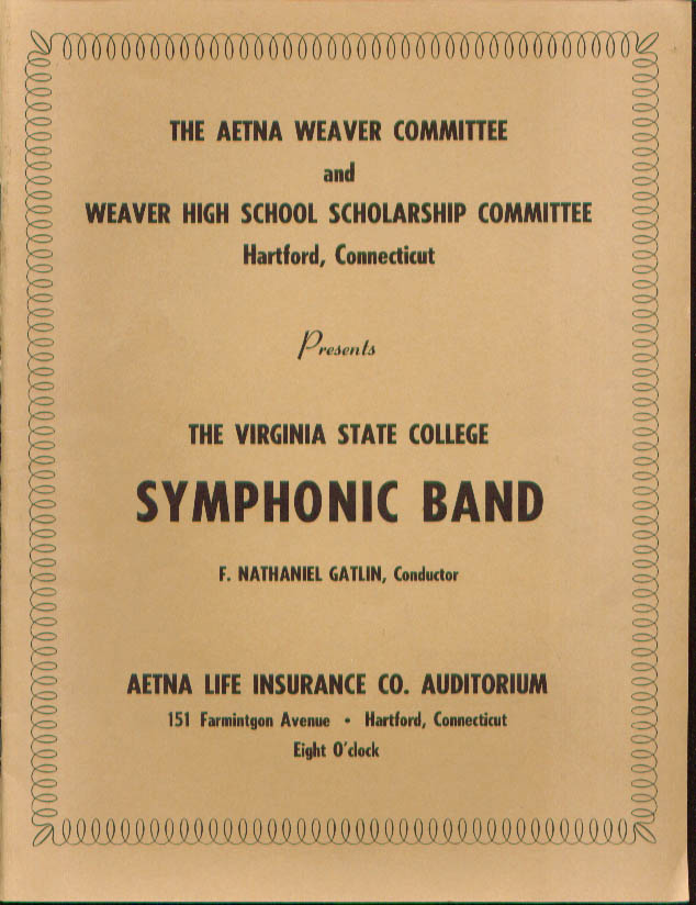 Virginia State Symphonic Band Aetna Weaver Hartford CT