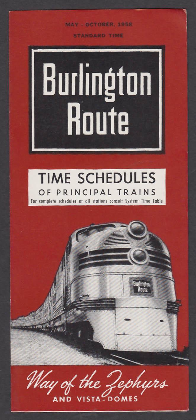 Image for Burlington Route Principal Trains Timetable 5-10/1958