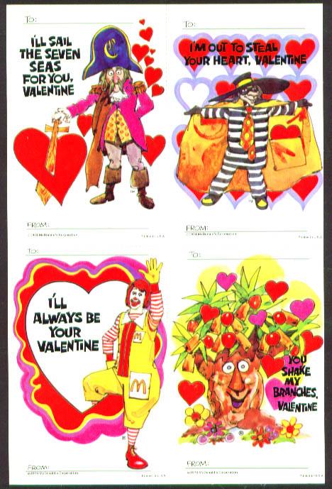 Image for McDonald's Ronald HamBurglar Valentine sheet 1974
