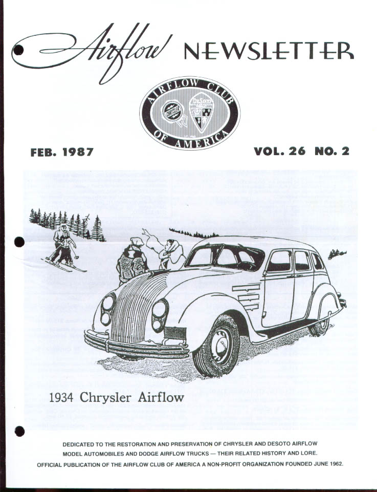 Airflow Club America Newsletter 2/87 Chrysler DeSoto