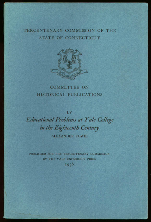 18th Education Problems Yale CT Tercentenary #LV 1936