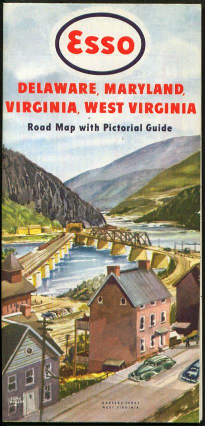 Esso Gasoline Road Map Delaware Maryland Virginia West VA DE MD 1949