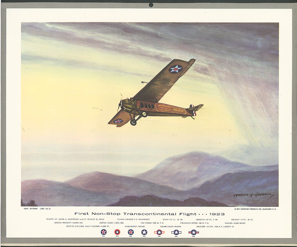 Fokker T-2 1st Non-Stop Transcon 1923 by Hubbell 1957