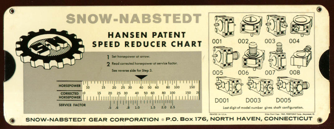 Snow-Nabstedt Hansen Patent Speed Reducer sliderule '65