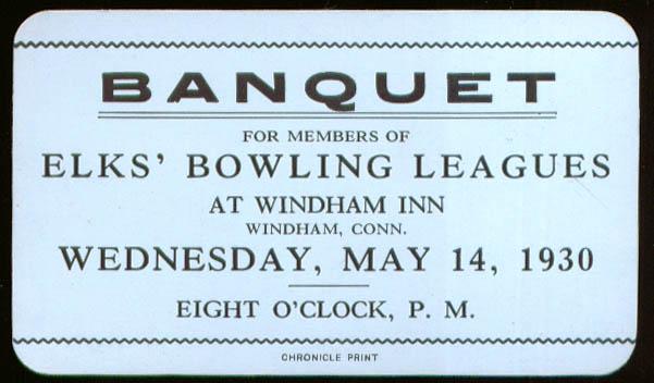 Elks Bowling Banquet ticket Windham Inn Windham CT 1930