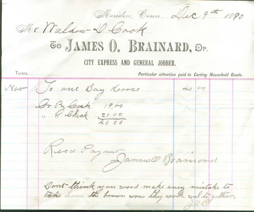 James O Brainard Jobber Meriden CT bill for horse 1890