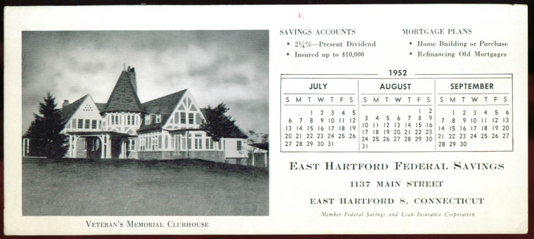 Veterans Memorial Clubhouse E Hartford CT blotter 1952