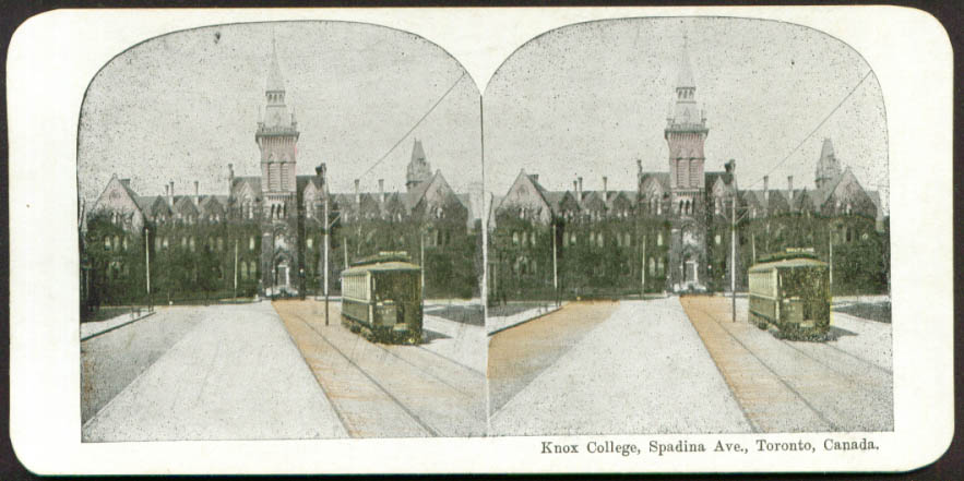 Knox College Spadina Av Toronto ON stereo view 1890s