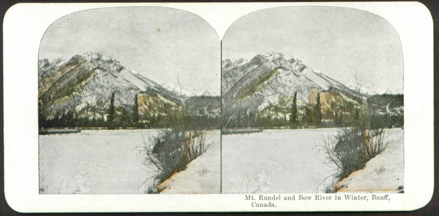 Mt Rundel & Bow River winter Banff AB stereo view 1890s
