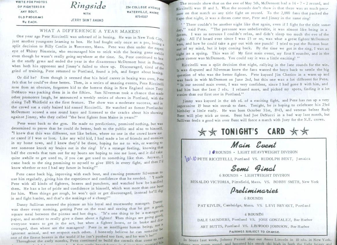 Pete Riccitelli v Rudolph Bent Boxing program 10/27 1966