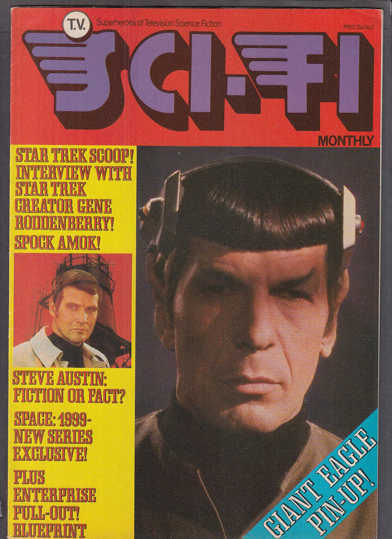 SCI-FI MONTHLY #2 Star Trek Space 1999 Steve Austin 1976