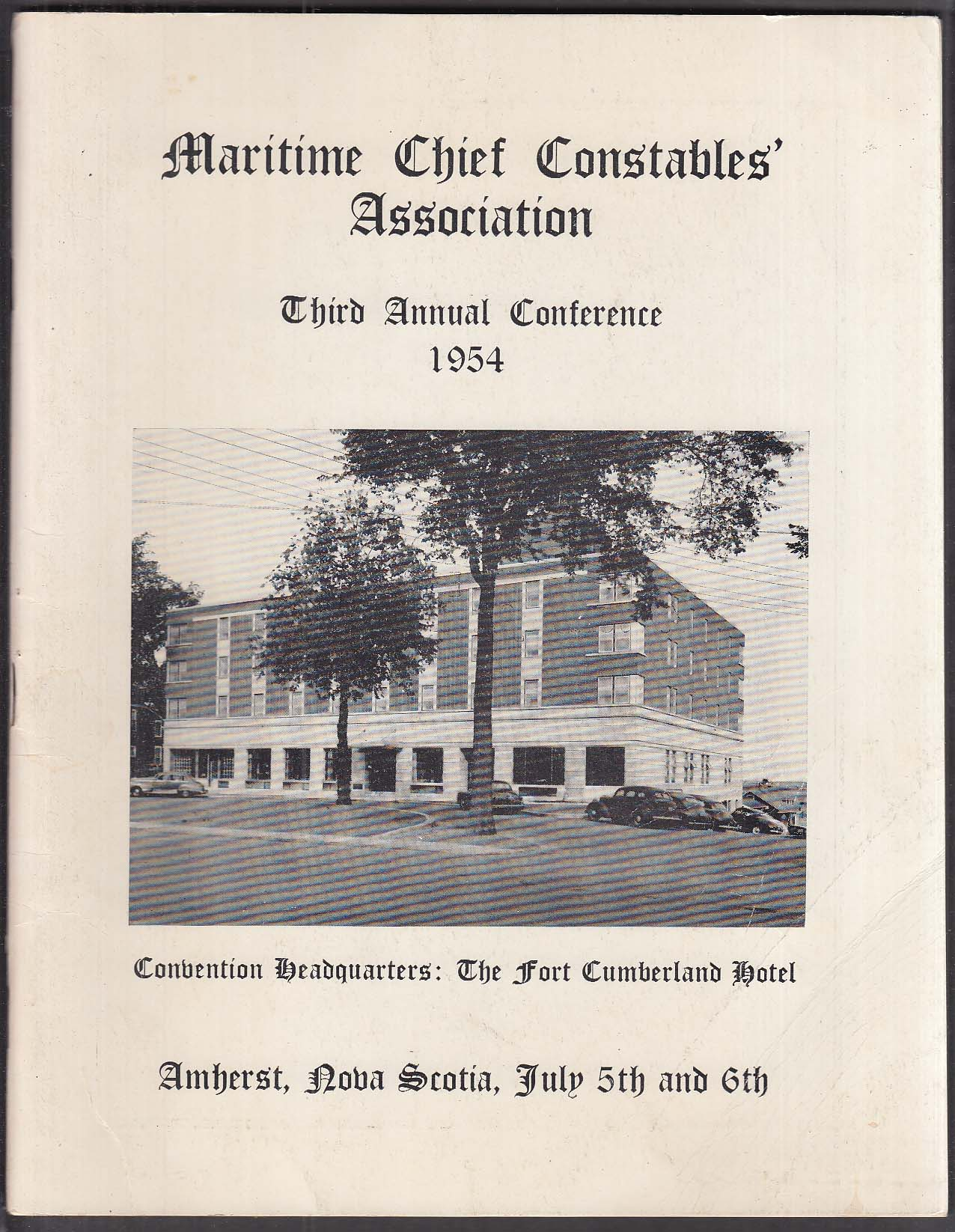 Maritime Chief Constables Association Annual Conference Nova Scotia program 1954