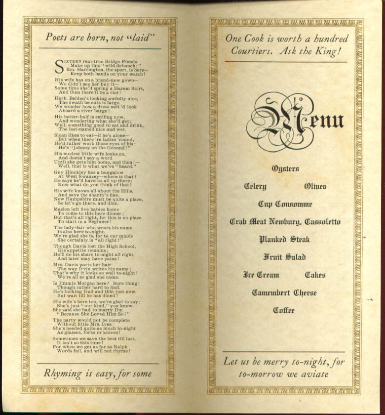Heublein 4th Annual Symposiac of the No Name Club Menu Hartford CT 1911