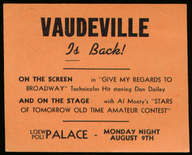 WMMW Vaudeville is Back Palace Meriden card 1948