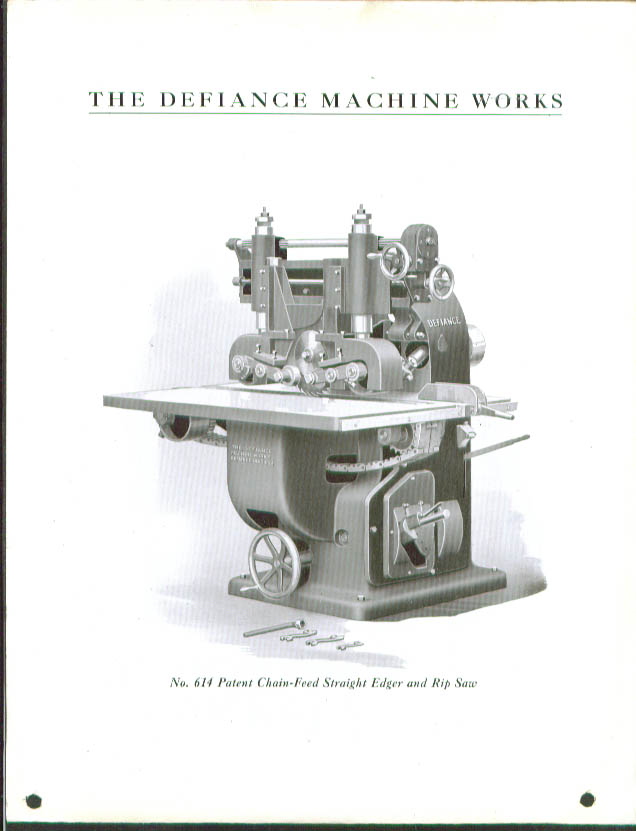 Defiance No. 614 Edger & Rip Saw spec sheet 1920s