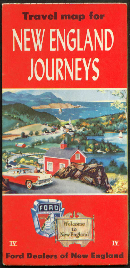 Ford Dealers New England Journeys Road Map 1956