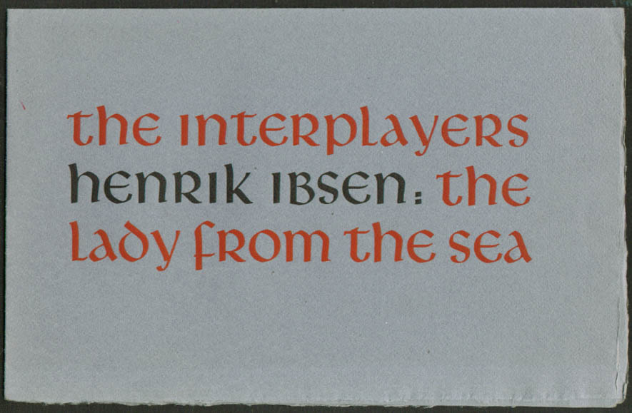 Henrik Ibsen Lady from the Sea Interplayers San Francisco CA program 1950