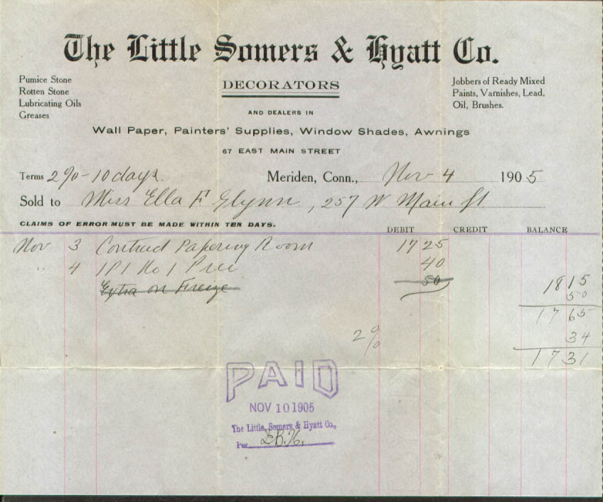 Little Somers & Hyatt Decorators Meriden CT bill 1905
