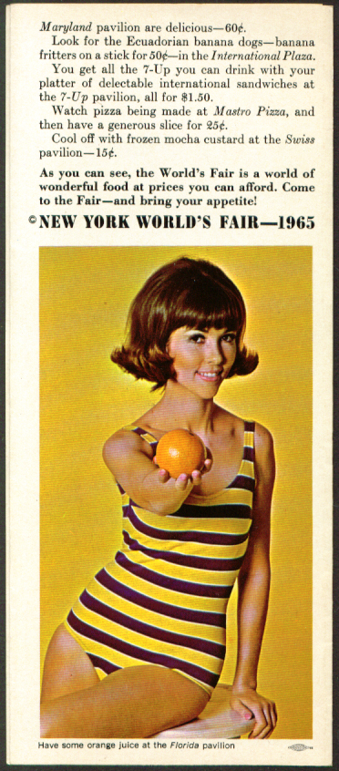 Food at the New York World's Fair 1965 folder