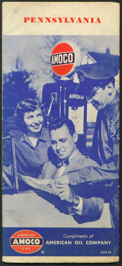 Amoco Gasoline Road Map Pennsylvania 1952