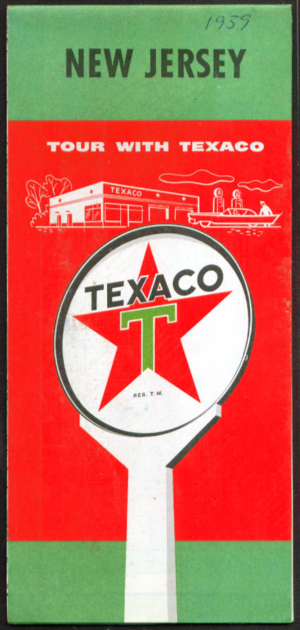 Texaco Gasoline Road Map New Jersey 1959