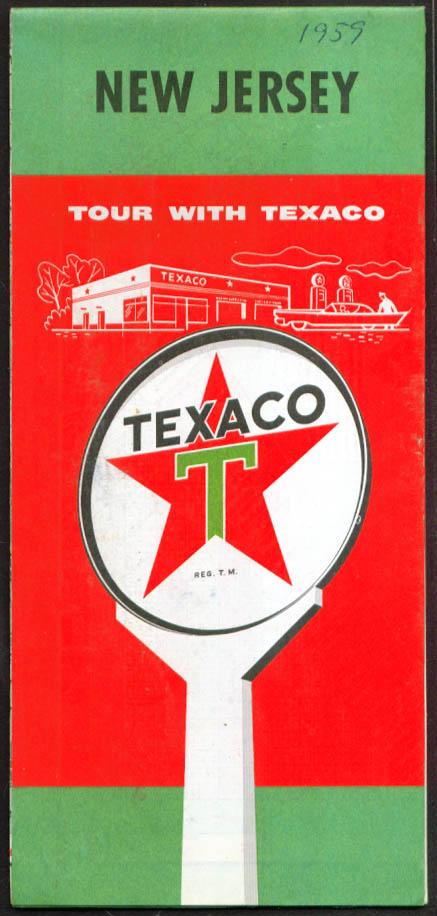 Texaco Gasoline Road Map New Jersey 1959