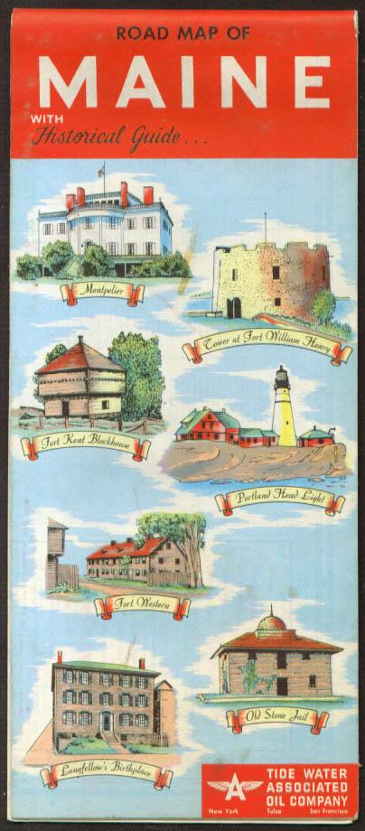 Tidewater Tydol Road Map Maine 1952