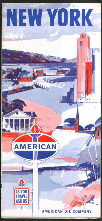American Oil Company Gasoline Road Map New York 1953