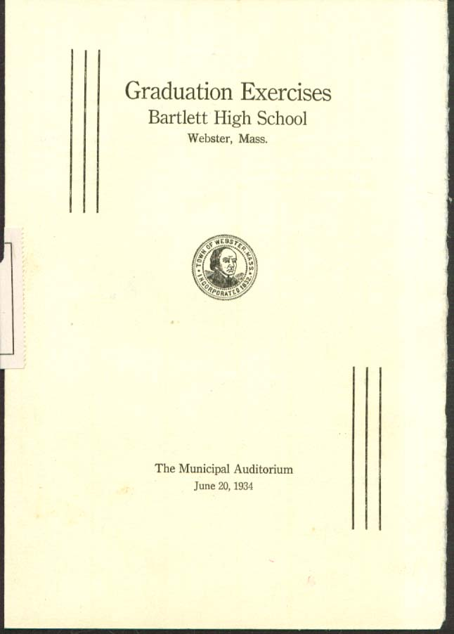 Bartlett High Webster MA Graduation Program 1934