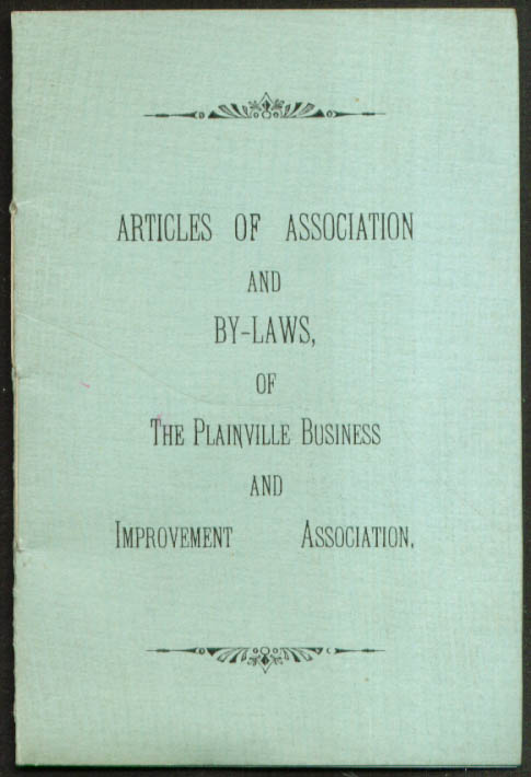 Plainville CT Business & Improvement Association By-Laws 1908