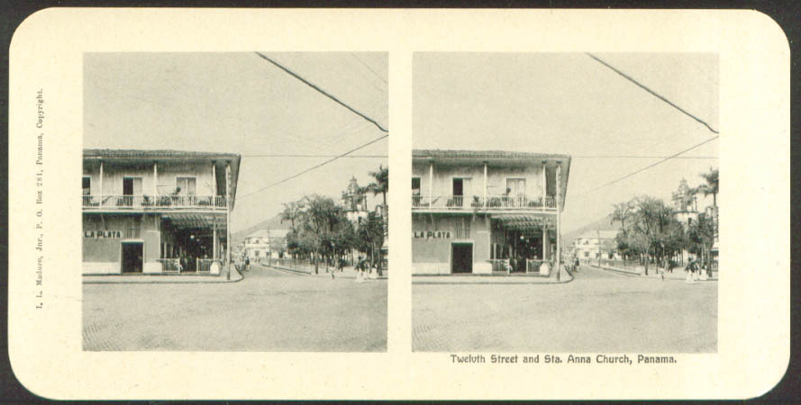 12th Street & Santa Anna Church Maduro Stereoview Panama 1900s