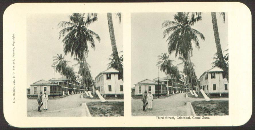 Image for Third Street Cristobal Maduro Stereoview Panama 1900s