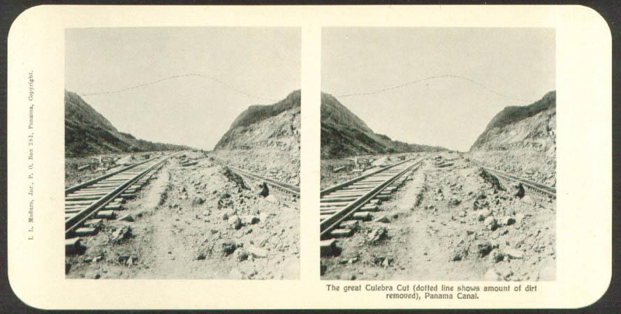 Railroad in Culebra Cut Maduro Stereoview Panama 1900s