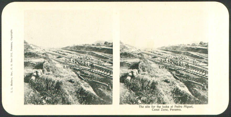Locks Site Pedro Miguel Maduro Stereoview Panama 1900s