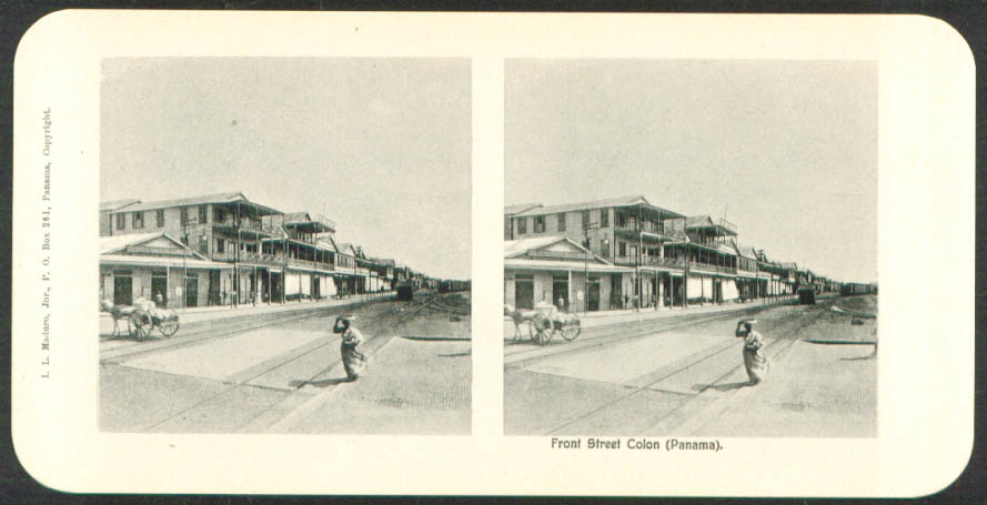 Image for View Front Street Colon Maduro Stereoview Panama 1900s