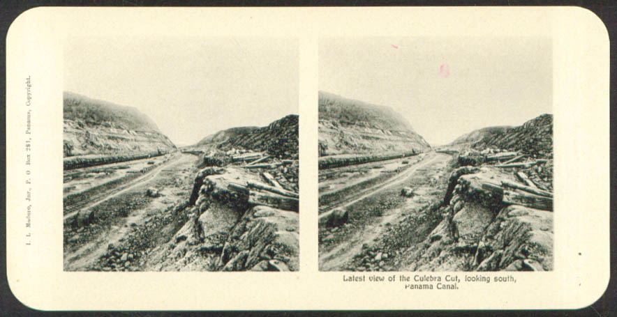 South View Culebra Cut Maduro Stereoview Panama 1900s